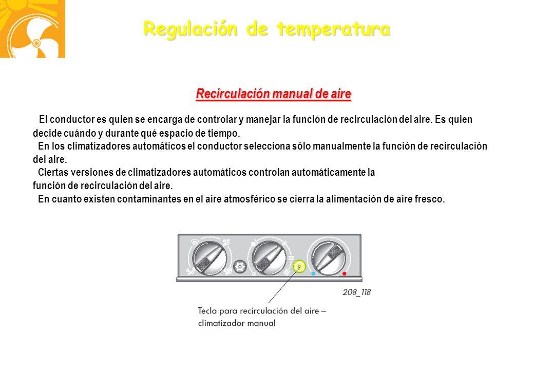 Regulación de temperatura Recirculación manual de aire El conductor es quien se encarga de controlar y manejar la función de recirculación del aire. E