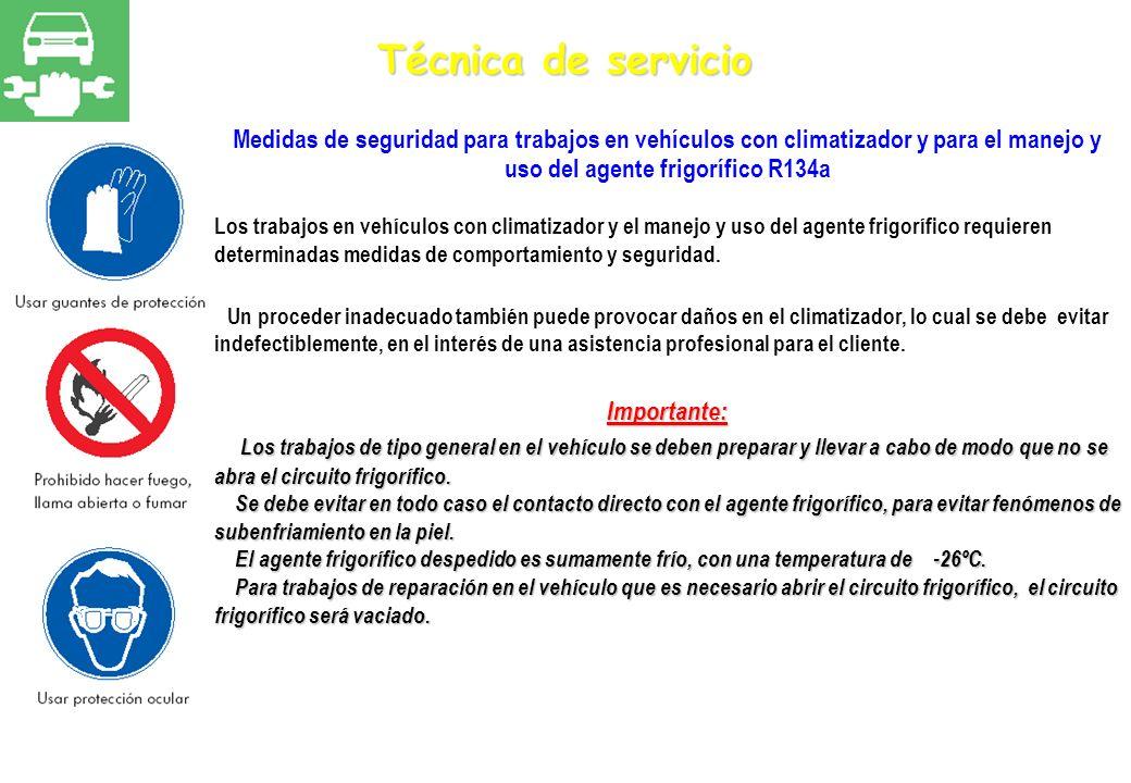 Técnica de servicio Medidas de seguridad para trabajos en vehículos con climatizador y para el manejo y uso del agente frigorífico R134a Los trabajos