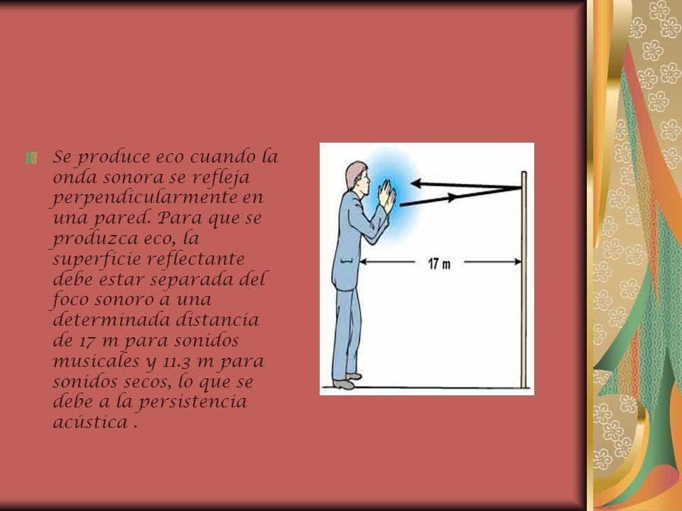 Se produce eco cuando la onda sonora se refleja perpendicularmente en una pared. Para que se produzca eco, la superficie reflectante debe estar separa