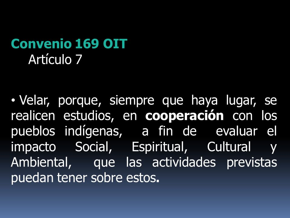 Convenio 169 OIT Artículo 7 Velar, porque, siempre que haya lugar, se realicen estudios, en cooperación con los pueblos indígenas, a fin de evaluar el