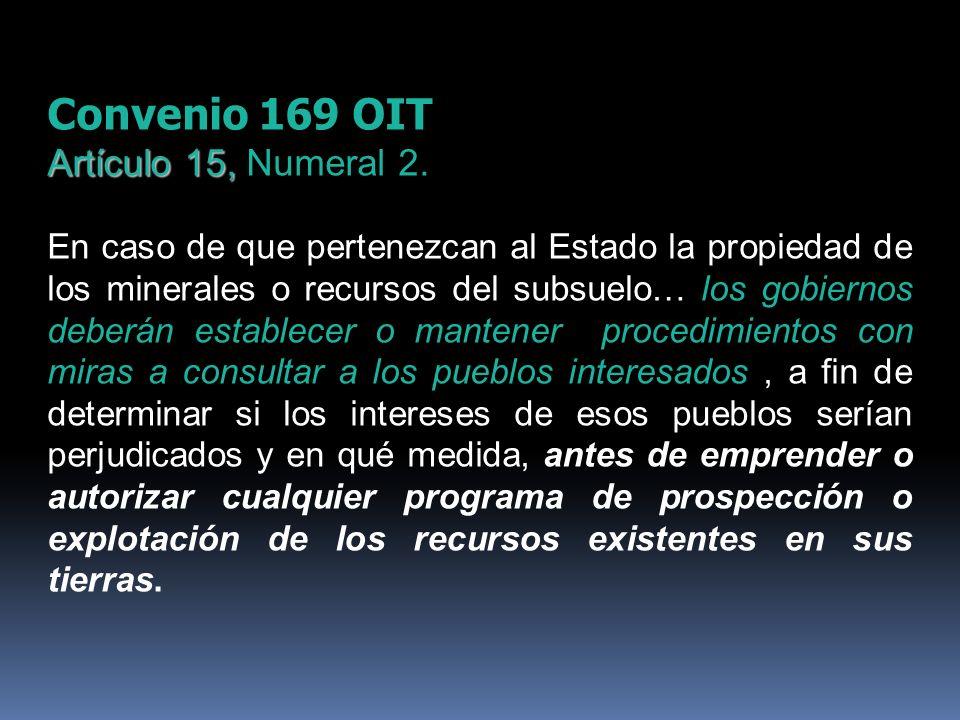 Convenio 169 OIT Artículo 15, Artículo 15, Numeral 2. En caso de que pertenezcan al Estado la propiedad de los minerales o recursos del subsuelo… los