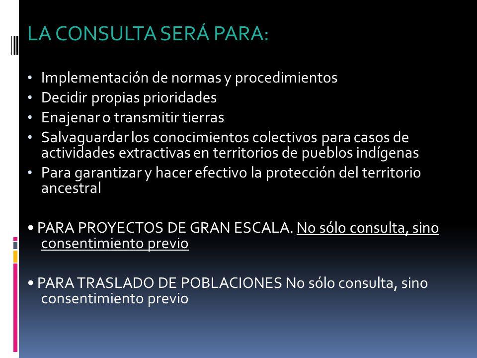 LA CONSULTA SERÁ PARA: Implementación de normas y procedimientos Decidir propias prioridades Enajenar o transmitir tierras Salvaguardar los conocimien
