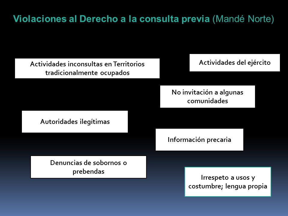 Violaciones al Derecho a la consulta previa (Mandé Norte) Actividades inconsultas en Territorios tradicionalmente ocupados No invitación a algunas com