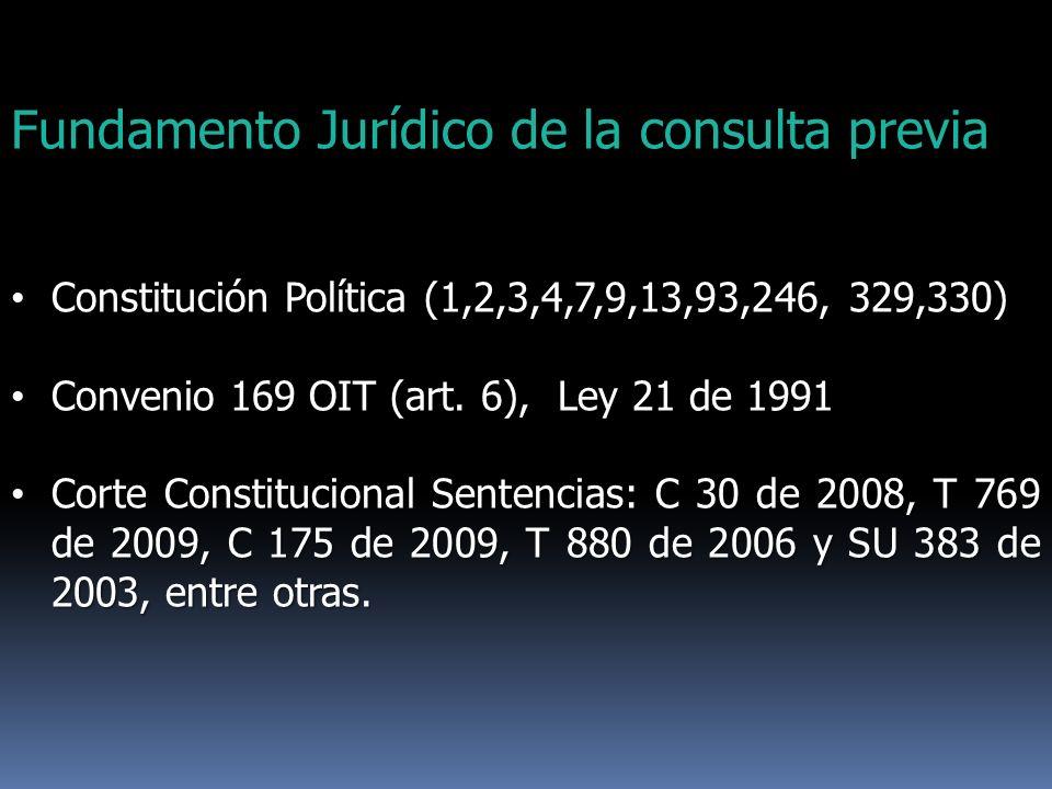 Fundamento Jurídico de la consulta previa Constitución Política (1,2,3,4,7,9,13,93,246, 329,330) Constitución Política (1,2,3,4,7,9,13,93,246, 329,330
