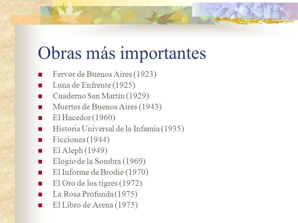 Obras más importantes Fervor de Buenos Aires (1923) Luna de Enfrente (1925) Cuaderno San Martín (1929) Muertes de Buenos Aires (1943) El Hacedor (1960