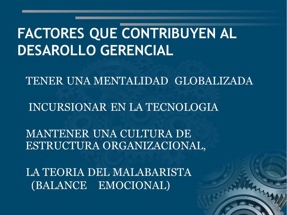 FACTORES QUE CONTRIBUYEN AL DESAROLLO GERENCIAL TENER UNA MENTALIDAD GLOBALIZADA INCURSIONAR EN LA TECNOLOGIA MANTENER UNA CULTURA DE ESTRUCTURA ORGANIZACIONAL, LA TEORIA DEL MALABARISTA (BALANCE EMOCIONAL)