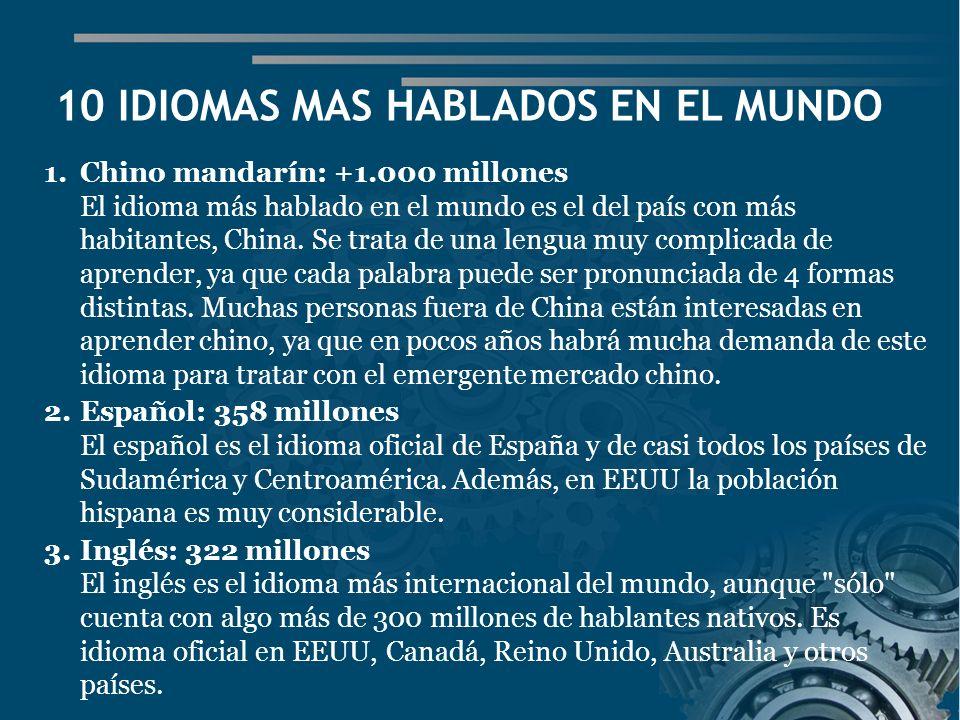 10 IDIOMAS MAS HABLADOS EN EL MUNDO 1.Chino mandarín: +1.000 millones El idioma más hablado en el mundo es el del país con más habitantes, China.