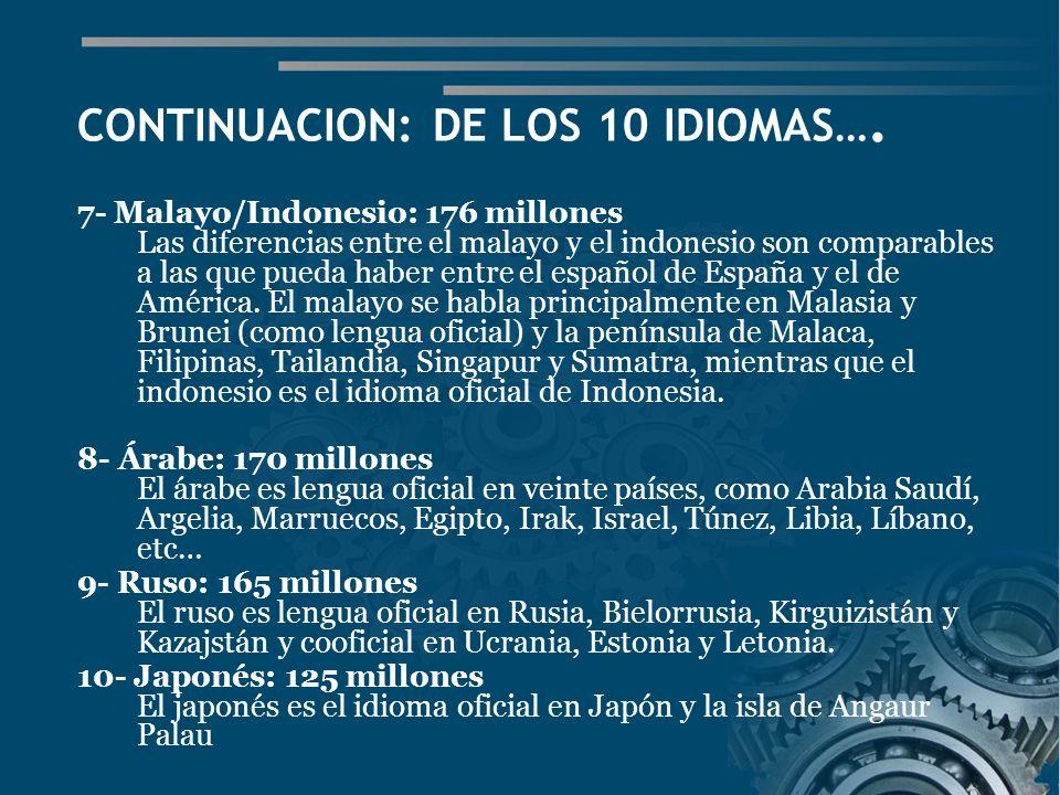 CONTINUACION: DE LOS 10 IDIOMAS….