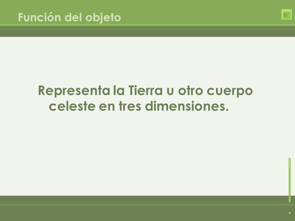 Función del objeto Representa la Tierra u otro cuerpo celeste en tres dimensiones.