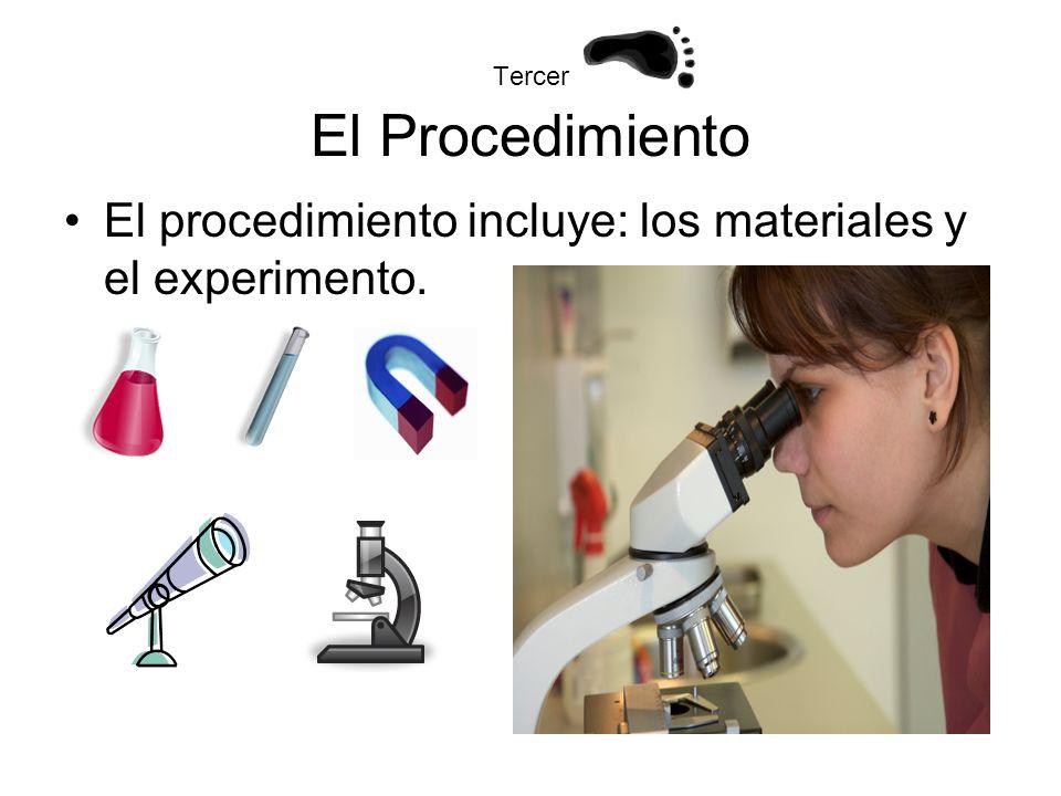 Tercer El Procedimiento El procedimiento incluye: los materiales y el experimento.