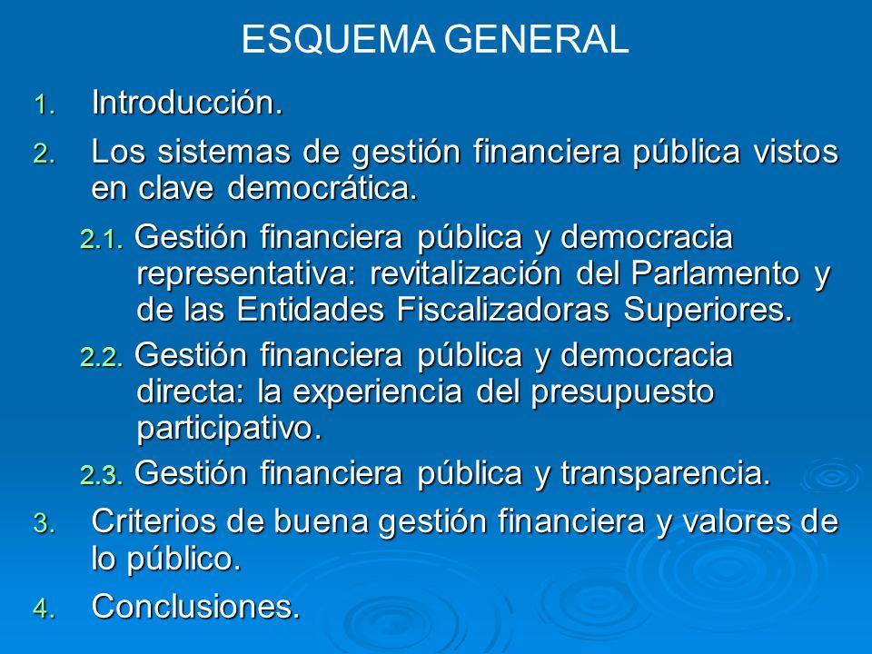 1. Introducción. 2. Los sistemas de gestión financiera pública vistos en clave democrática.