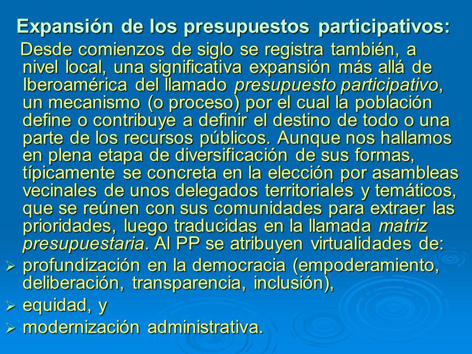 Expansión de los presupuestos participativos: Desde comienzos de siglo se registra también, a nivel local, una significativa expansión más allá de Iberoamérica del llamado presupuesto participativo, un mecanismo (o proceso) por el cual la población define o contribuye a definir el destino de todo o una parte de los recursos públicos.