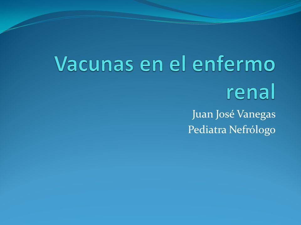 ERC y vacunas 20 a 30 % de los niños no tienen completo su esquema de vacunación previo al trasplante Indispensable vacunas replicativas de virus vivo, antes del trasplante: sarampión, rubeola, varicela, parotiditis.