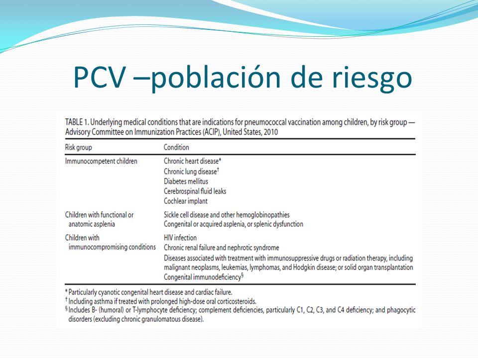 PCV –población de riesgo