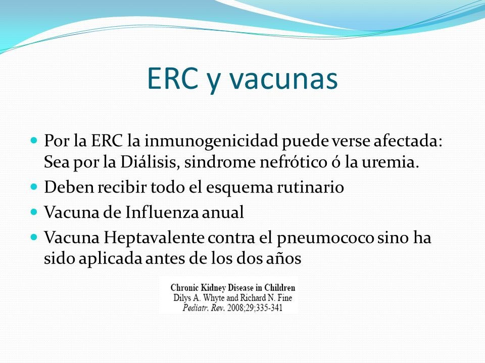 ERC y vacunas Por la ERC la inmunogenicidad puede verse afectada: Sea por la Diálisis, sindrome nefrótico ó la uremia. Deben recibir todo el esquema r