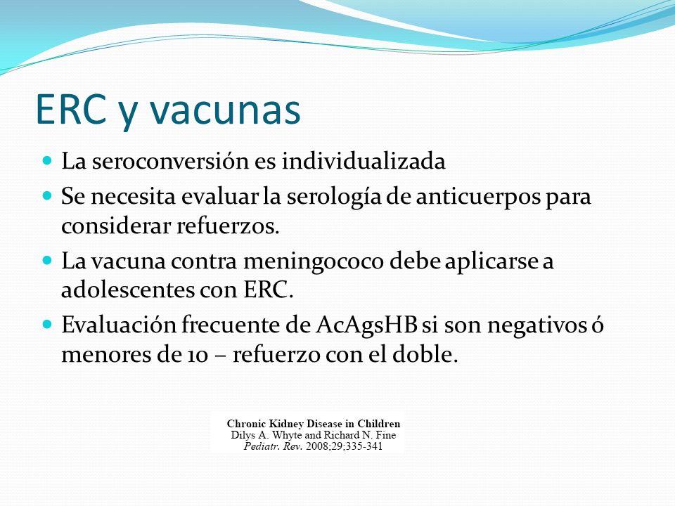ERC y vacunas La seroconversión es individualizada Se necesita evaluar la serología de anticuerpos para considerar refuerzos. La vacuna contra meningo