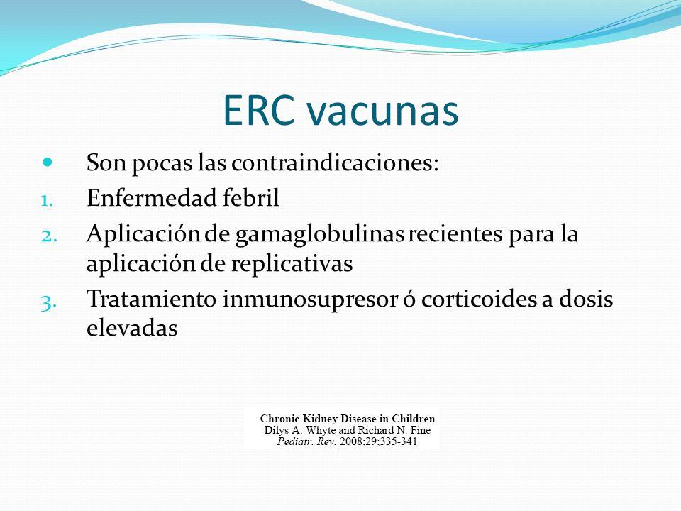 ERC vacunas Son pocas las contraindicaciones: 1. Enfermedad febril 2. Aplicación de gamaglobulinas recientes para la aplicación de replicativas 3. Tra