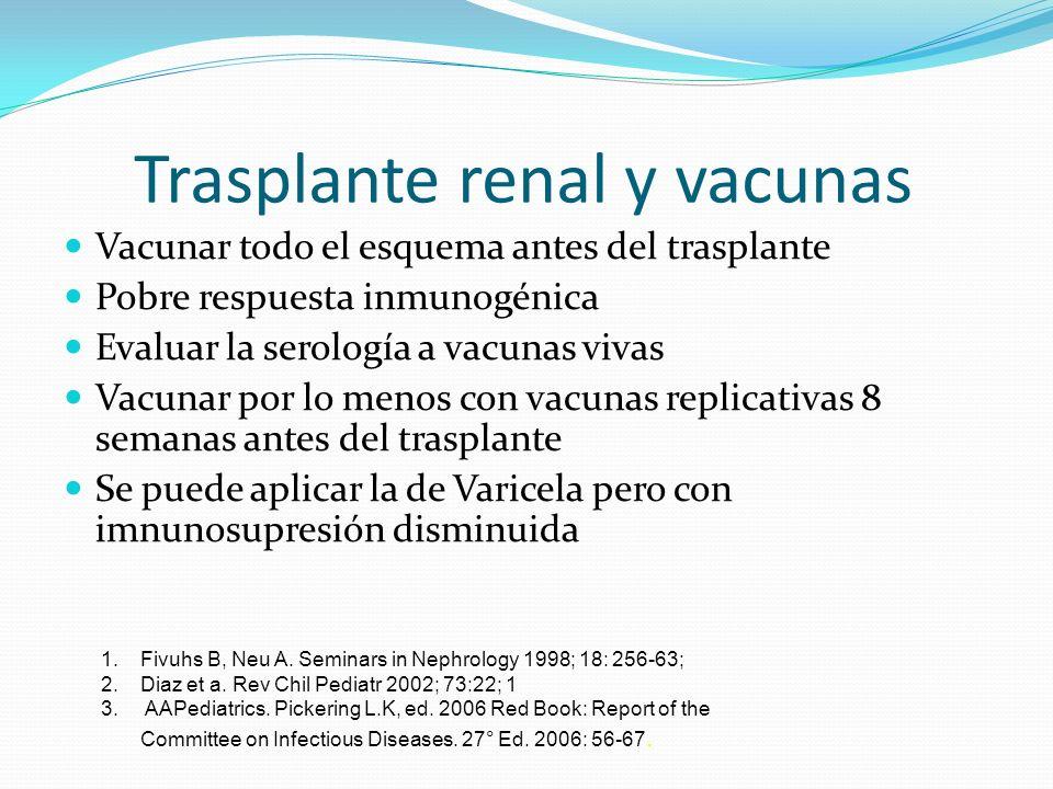 Trasplante renal y vacunas Vacunar todo el esquema antes del trasplante Pobre respuesta inmunogénica Evaluar la serología a vacunas vivas Vacunar por