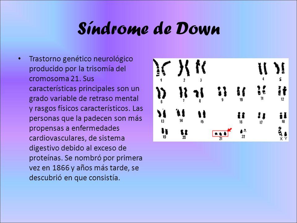 Síndrome de Down Trastorno genético neurológico producido por la trisomía del cromosoma 21. Sus características principales son un grado variable de r
