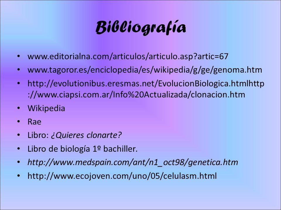 Bibliografía www.editorialna.com/articulos/articulo.asp artic=67 www.tagoror.es/enciclopedia/es/wikipedia/g/ge/genoma.htm http://evolutionibus.eresmas.net/EvolucionBiologica.htmlhttp ://www.ciapsi.com.ar/Info%20Actualizada/clonacion.htm Wikipedia Rae Libro: ¿Quieres clonarte.