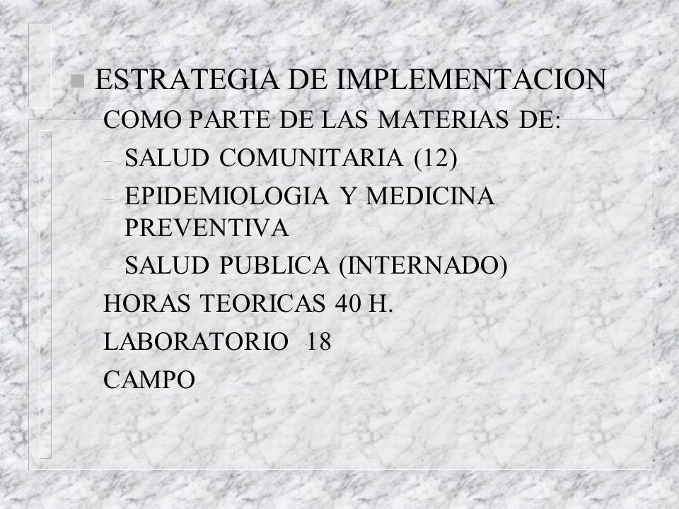 n ESTRATEGIA DE IMPLEMENTACION COMO PARTE DE LAS MATERIAS DE: – SALUD COMUNITARIA (12) – EPIDEMIOLOGIA Y MEDICINA PREVENTIVA – SALUD PUBLICA (INTERNAD