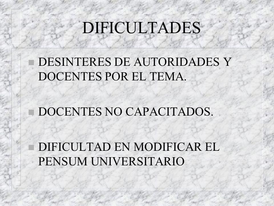 DIFICULTADES n DESINTERES DE AUTORIDADES Y DOCENTES POR EL TEMA. n DOCENTES NO CAPACITADOS. n DIFICULTAD EN MODIFICAR EL PENSUM UNIVERSITARIO