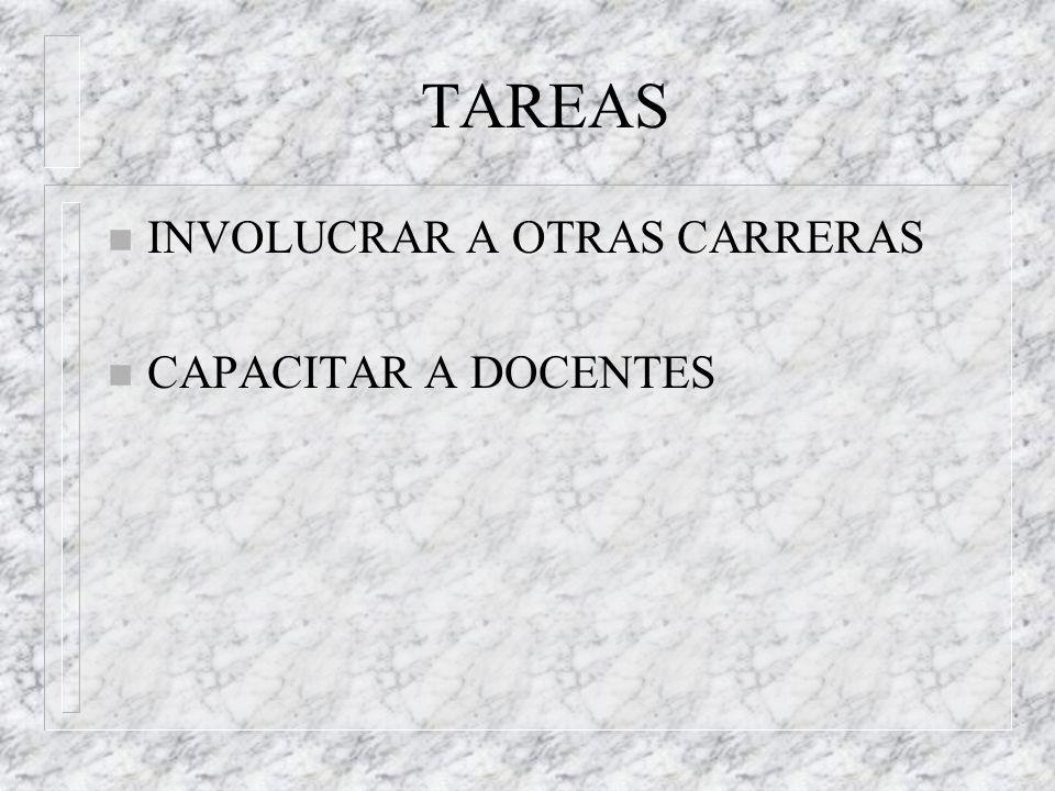 TAREAS n INVOLUCRAR A OTRAS CARRERAS n CAPACITAR A DOCENTES