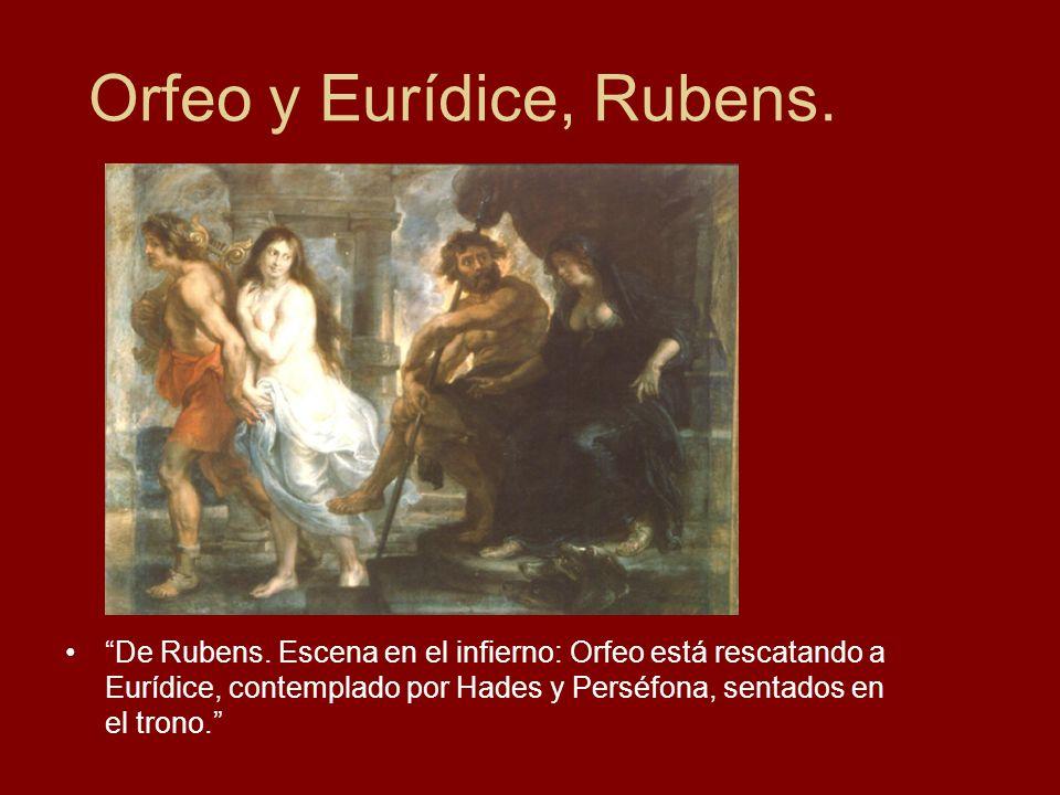 Orfeo y Eurídice, Rubens. De Rubens. Escena en el infierno: Orfeo está rescatando a Eurídice, contemplado por Hades y Perséfona, sentados en el trono.