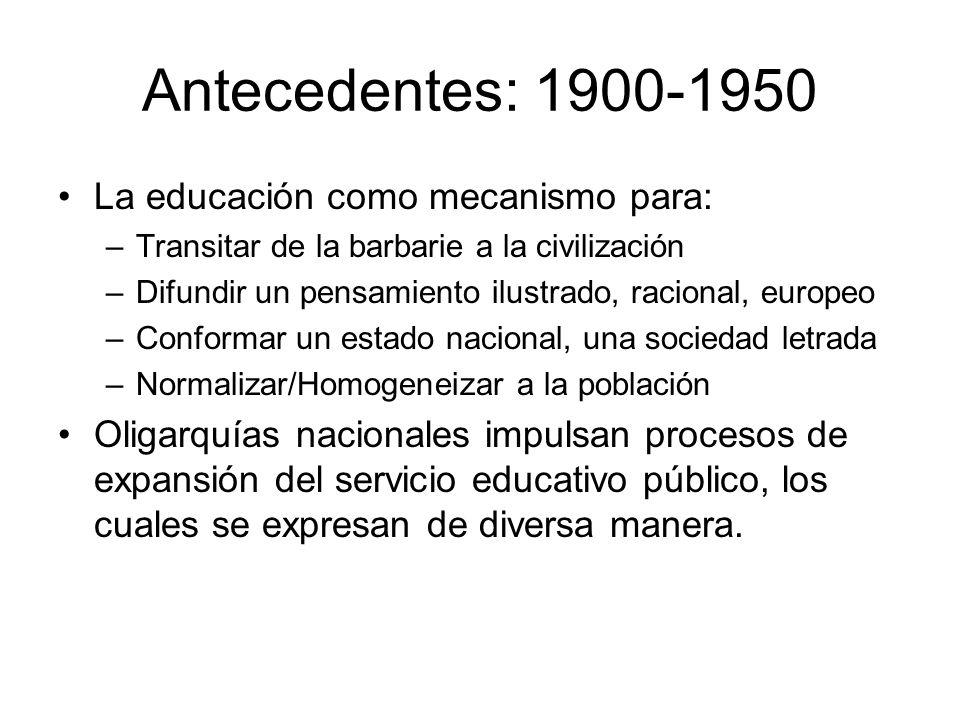 Antecedentes: 1900-1950 La educación como mecanismo para: –Transitar de la barbarie a la civilización –Difundir un pensamiento ilustrado, racional, eu