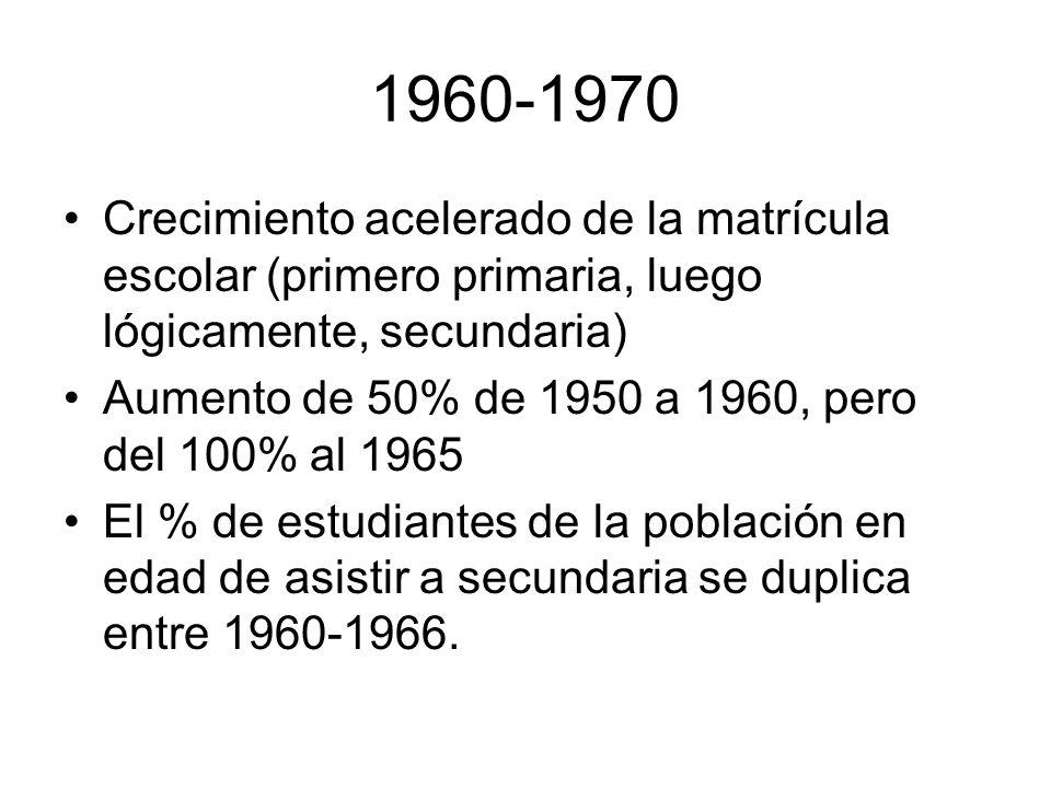 1960-1970 Crecimiento acelerado de la matrícula escolar (primero primaria, luego lógicamente, secundaria) Aumento de 50% de 1950 a 1960, pero del 100%