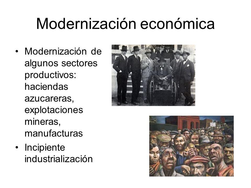 Modernización económica Modernización de algunos sectores productivos: haciendas azucareras, explotaciones mineras, manufacturas Incipiente industrial