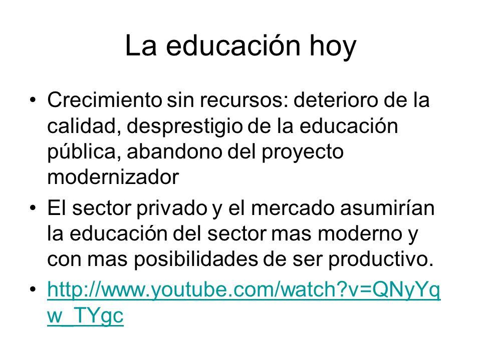 La educación hoy Crecimiento sin recursos: deterioro de la calidad, desprestigio de la educación pública, abandono del proyecto modernizador El sector