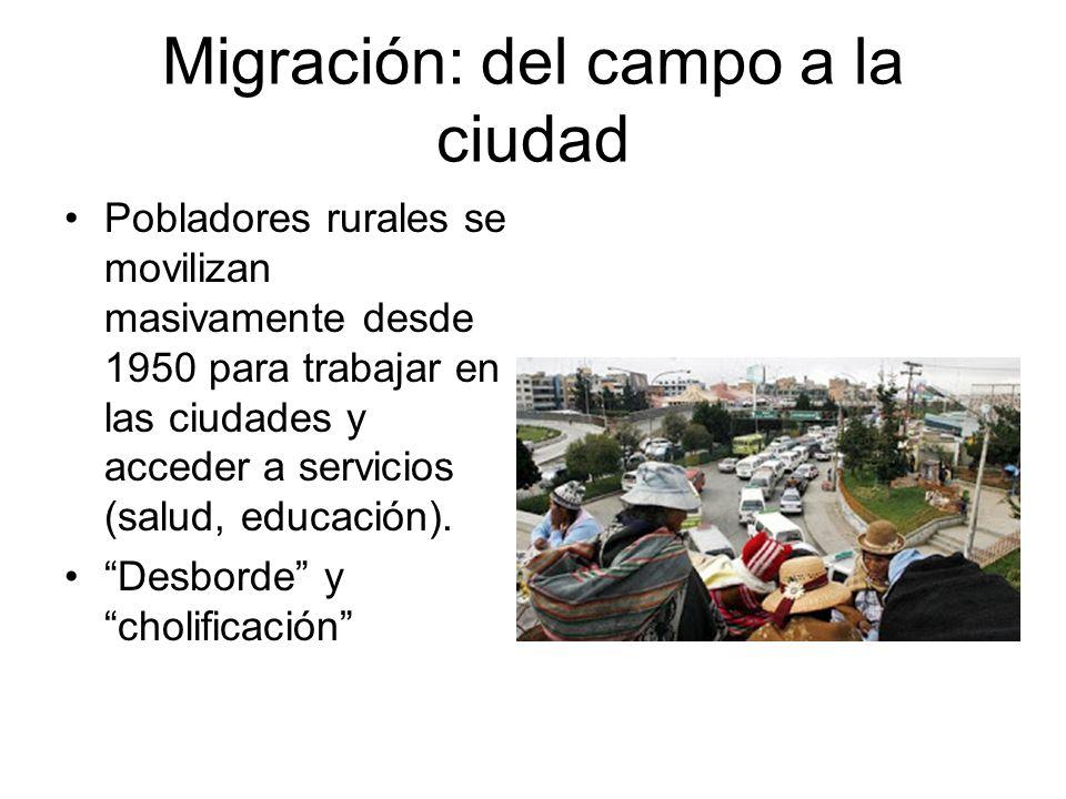 Migración: del campo a la ciudad Pobladores rurales se movilizan masivamente desde 1950 para trabajar en las ciudades y acceder a servicios (salud, ed