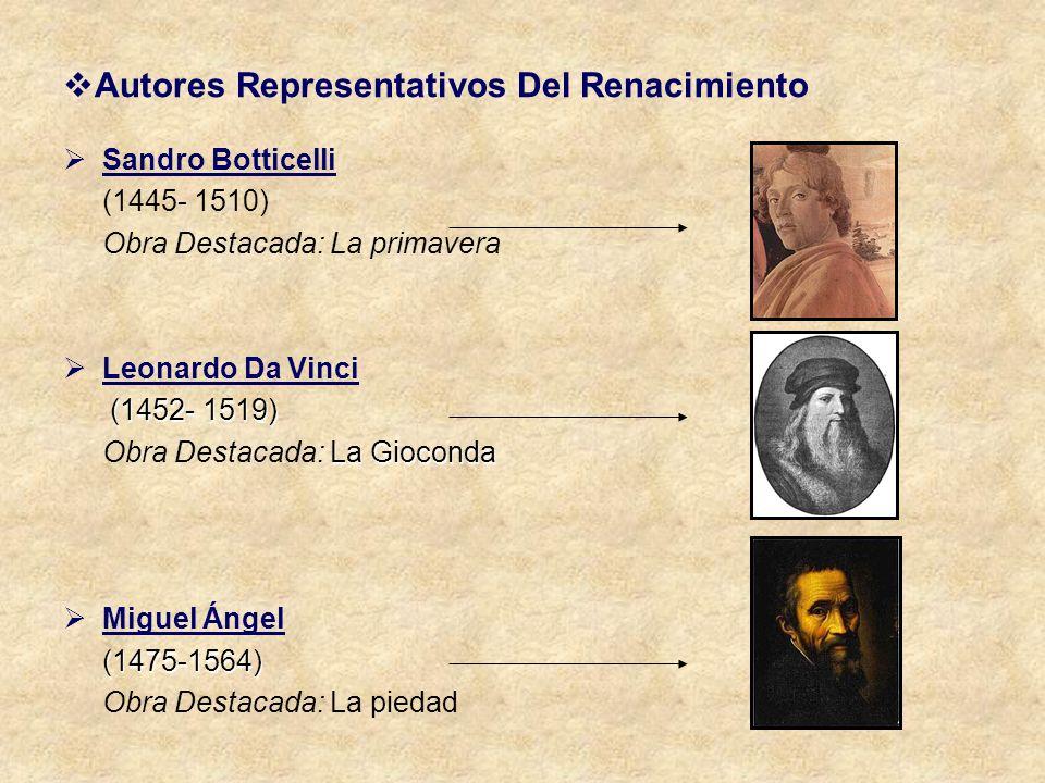 Autores Representativos Del Renacimiento Sandro Botticelli (1445- 1510) Obra Destacada: La primavera Leonardo Da Vinci (1452- 1519) (1452- 1519) La Gi