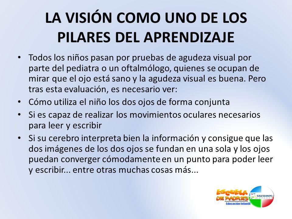 LA VISIÓN COMO UNO DE LOS PILARES DEL APRENDIZAJE Todos los niños pasan por pruebas de agudeza visual por parte del pediatra o un oftalmólogo, quienes