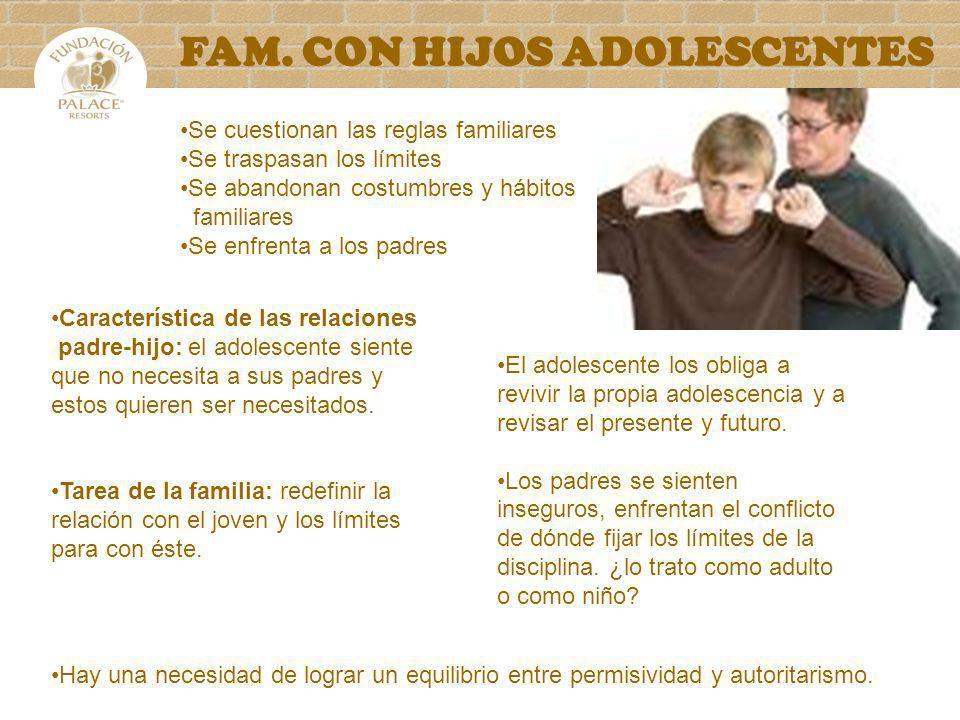 FAM. CON HIJOS ADOLESCENTES Característica de las relaciones padre-hijo: el adolescente siente que no necesita a sus padres y estos quieren ser necesi