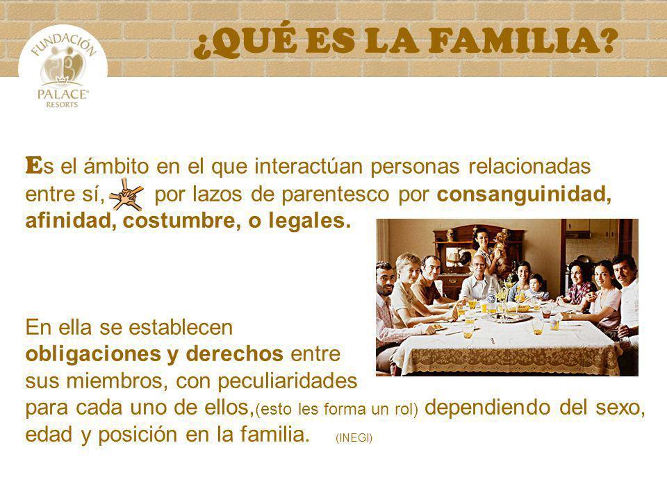 ¿QUÉ ES LA FAMILIA? E s el ámbito en el que interactúan personas relacionadas entre sí, por lazos de parentesco por consanguinidad, afinidad, costumbr