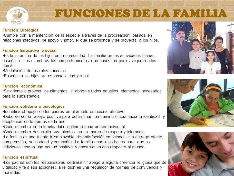 FUNCIONES DE LA FAMILIA Función Biológica Cumple con la mantención de la especie a través de la procreación, basada en relaciones afectivas, de apoyo