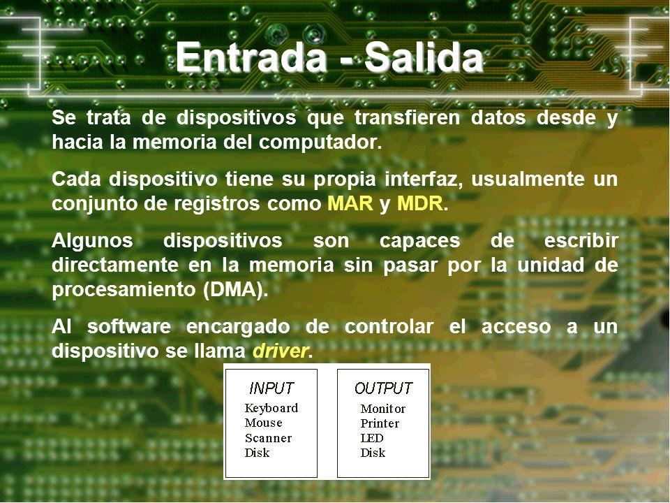Entrada - Salida Se trata de dispositivos que transfieren datos desde y hacia la memoria del computador. Cada dispositivo tiene su propia interfaz, us