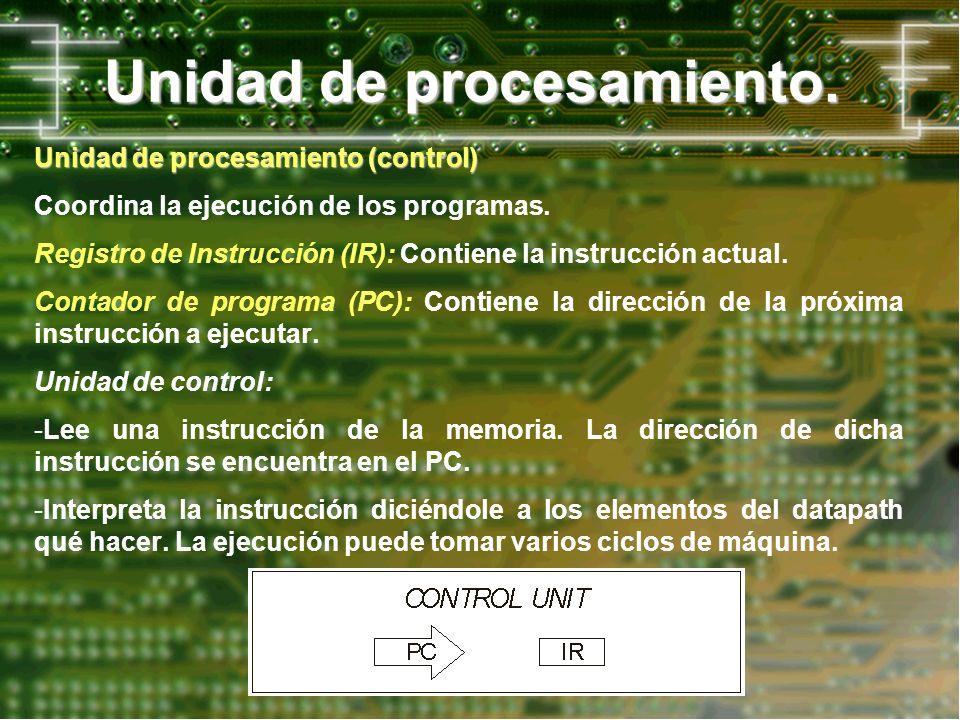 Unidad de procesamiento. Unidad de procesamiento (control) Coordina la ejecución de los programas. Registro de Instrucción (IR): Contiene la instrucci