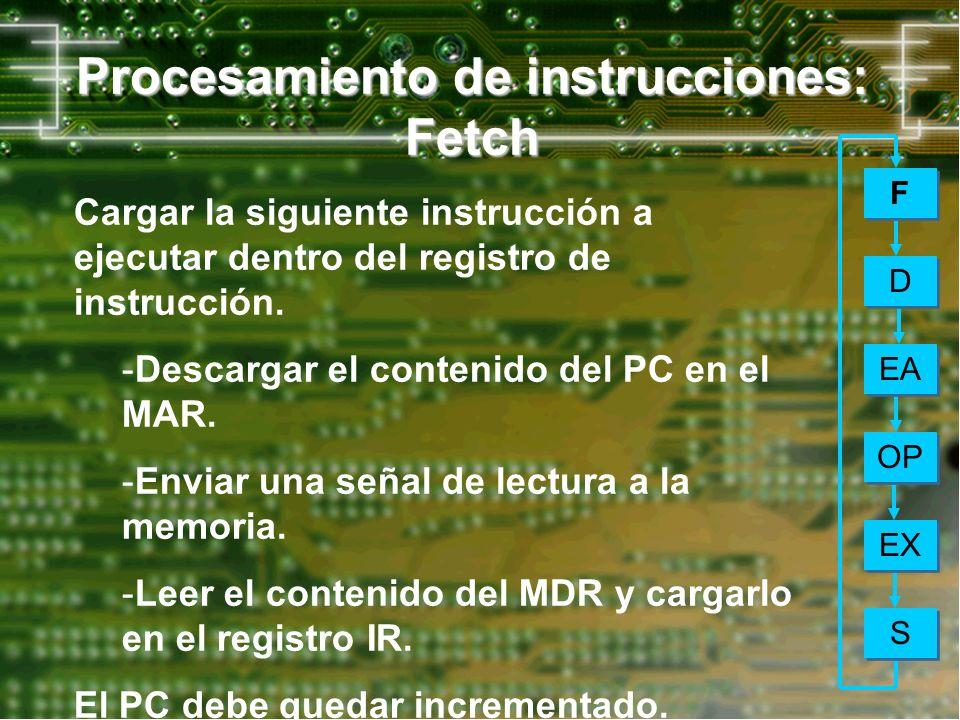 Procesamiento de instrucciones: Fetch Cargar la siguiente instrucción a ejecutar dentro del registro de instrucción. -Descargar el contenido del PC en