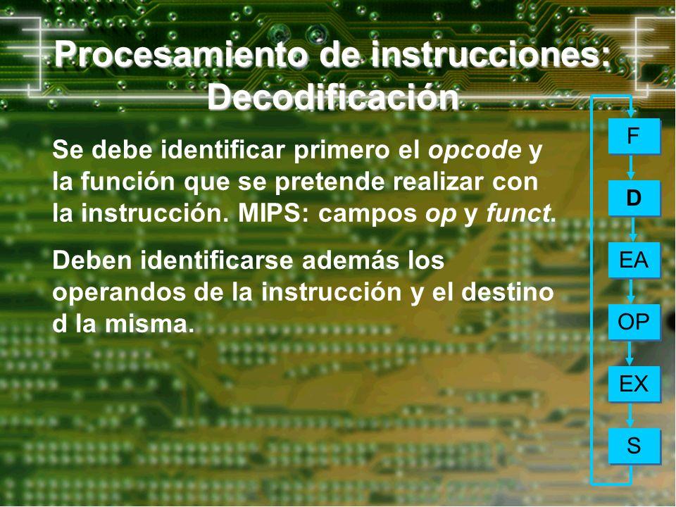 Procesamiento de instrucciones: Decodificación EA OP EX S S F F D D Se debe identificar primero el opcode y la función que se pretende realizar con la