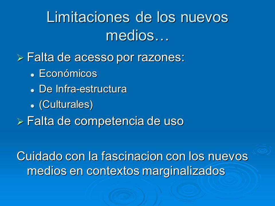 Limitaciones de los nuevos medios… Falta de acesso por razones: Falta de acesso por razones: Económicos Económicos De Infra-estructura De Infra-estruc