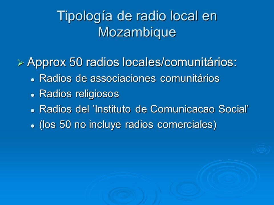 Tipología de radio local en Mozambique Approx 50 radios locales/comunitários: Approx 50 radios locales/comunitários: Radios de associaciones comunitários Radios de associaciones comunitários Radios religiosos Radios religiosos Radios del Instituto de Comunicacao Social Radios del Instituto de Comunicacao Social (los 50 no incluye radios comerciales) (los 50 no incluye radios comerciales)