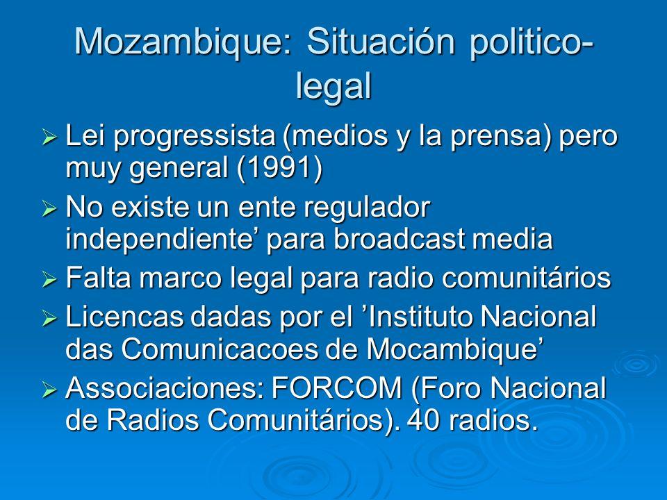 Mozambique: Situación politico- legal Lei progressista (medios y la prensa) pero muy general (1991) Lei progressista (medios y la prensa) pero muy gen