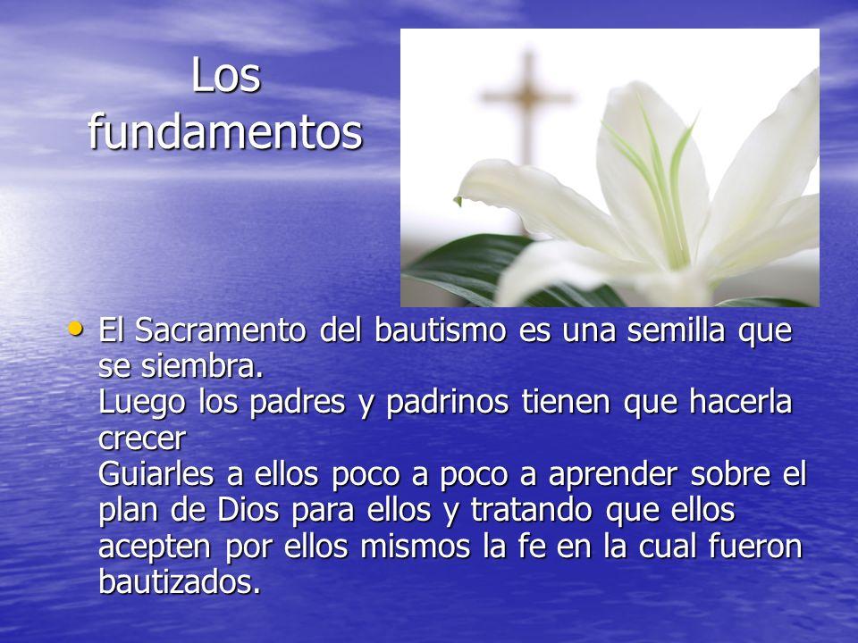 Los fundamentos El Sacramento del bautismo es una semilla que se siembra. Luego los padres y padrinos tienen que hacerla crecer Guiarles a ellos poco
