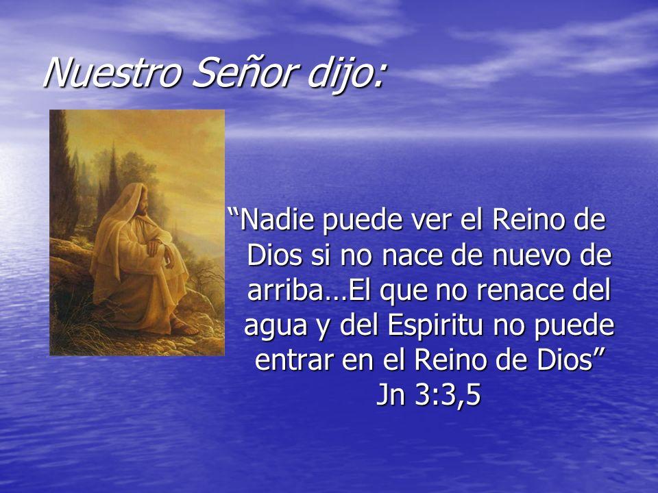 Nuestro Señor dijo: Nadie puede ver el Reino de Dios si no nace de nuevo de arriba…El que no renace del agua y del Espiritu no puede entrar en el Rein