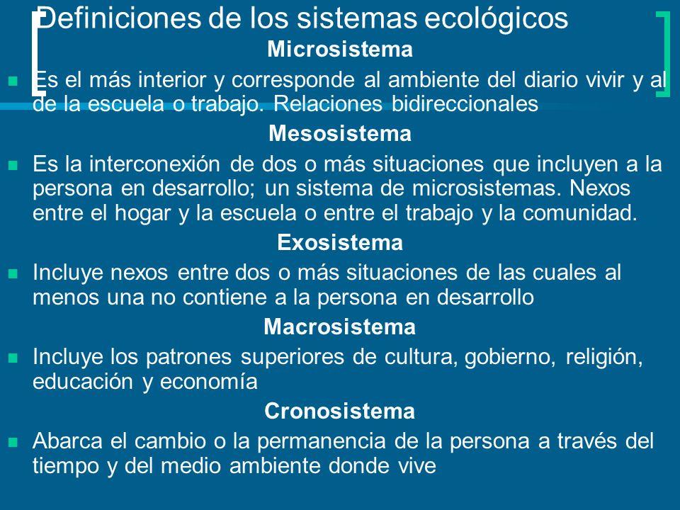 Definiciones de los sistemas ecológicos Microsistema Es el más interior y corresponde al ambiente del diario vivir y al de la escuela o trabajo. Relac