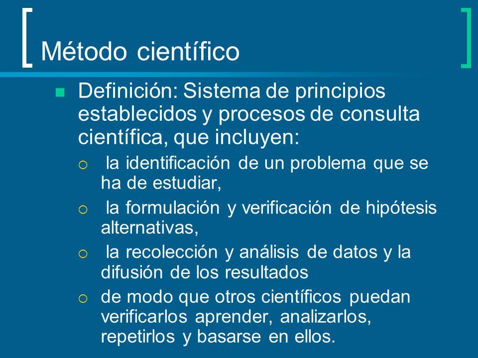 Método científico Definición: Sistema de principios establecidos y procesos de consulta científica, que incluyen: la identificación de un problema que