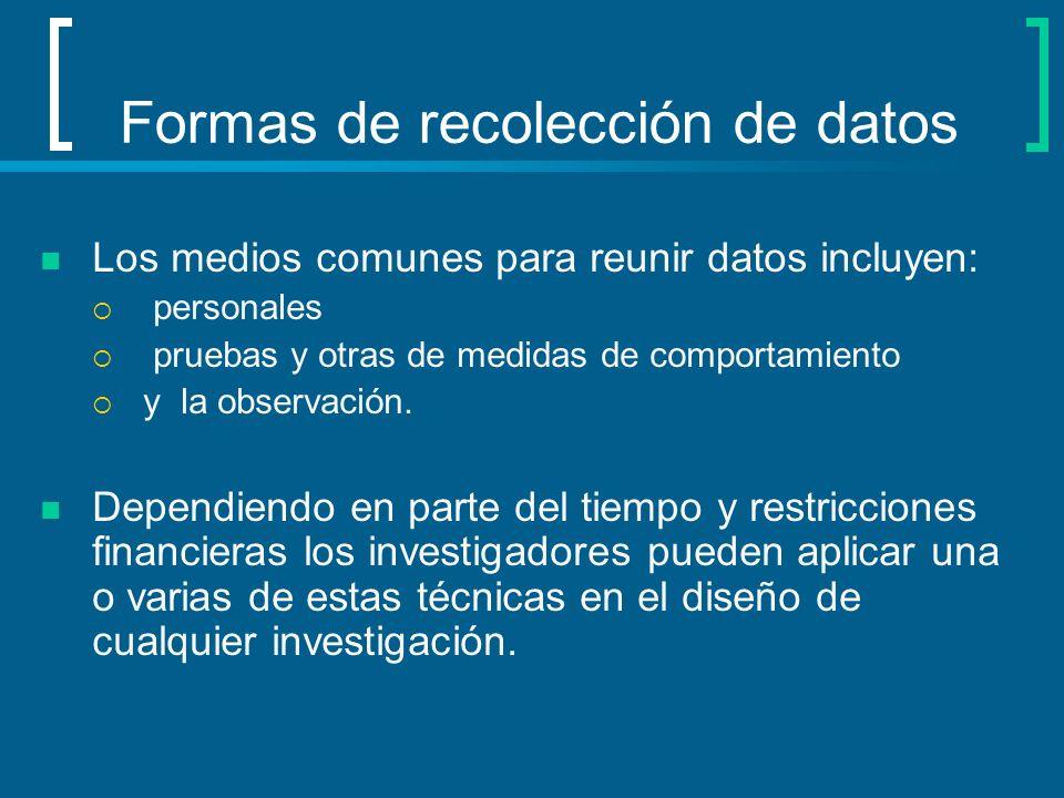 Formas de recolección de datos Los medios comunes para reunir datos incluyen: personales pruebas y otras de medidas de comportamiento y la observación